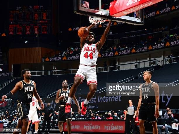 Patrick Williams of the Chicago Bulls dunks the ball against the Atlanta Hawks on April 9, 2021 at State Farm Arena in Atlanta, Georgia. NOTE TO...
