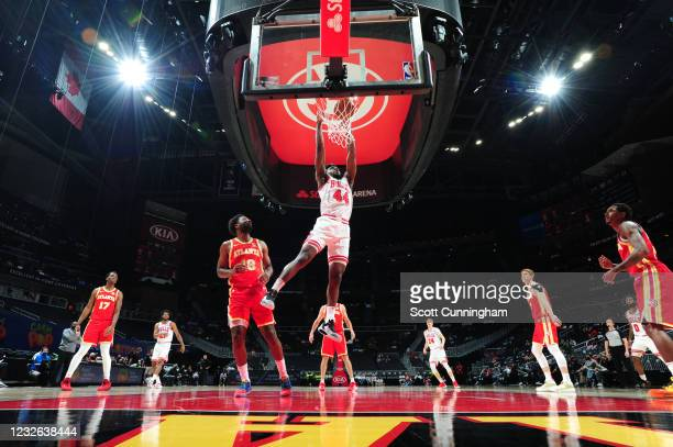 Patrick Williams of the Chicago Bulls dunks the ball during the game against the Atlanta Hawks on May 1, 2021 at State Farm Arena in Atlanta,...