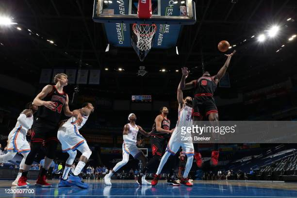 Patrick Williams of the Chicago Bulls grabs the rebound during the game against the Oklahoma City Thunder on January 15, 2021 at Chesapeake Energy...