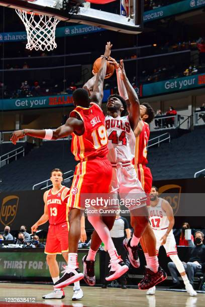 Patrick Williams of the Chicago Bulls /sbt/ during the game against the Atlanta Hawks on May 1, 2021 at State Farm Arena in Atlanta, Georgia. NOTE TO...