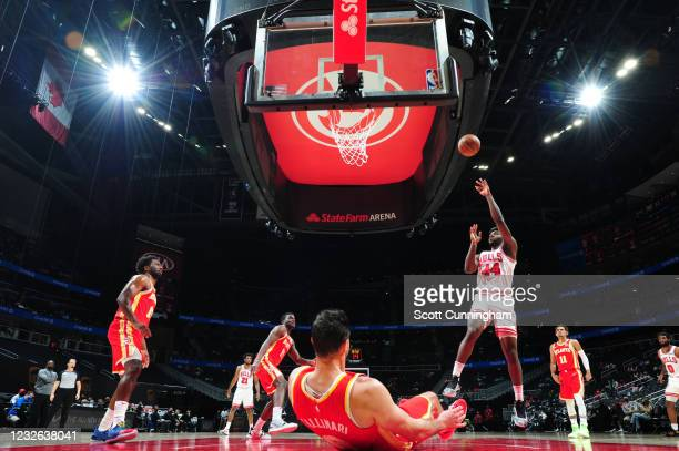 Patrick Williams of the Chicago Bulls shoots the ball during the game against the Atlanta Hawks on May 1, 2021 at State Farm Arena in Atlanta,...