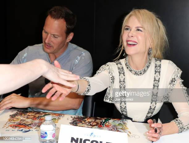 Patrick Wilson and Nicole Kidman attend DC Entertainment's Warner Bros Pictures 'Aquaman' Autograph Signing during ComicCon International 2018 at San...