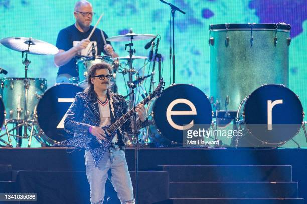 Patrick Wilson and Rivers Cuomo of Weezer perform on stage during the iHeartRadio Music Festival at T-Mobile Arena on September 17, 2021 in Las...