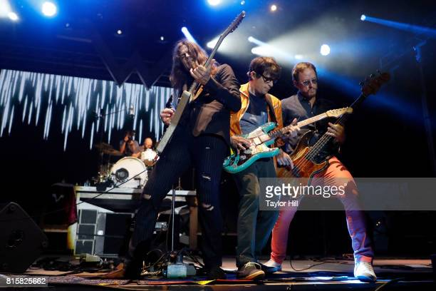 Patrick Wilson Brian Bell Rivers Cuomo and Scott Shriner of Weezer performs during the 2017 Forecastle Music Festival at Waterfront Park on July 16...