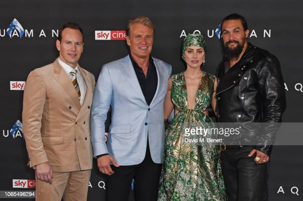 Patrick Wilson Dolph Lundgren Amber Heard and Jason Momoa attend the World Premiere of 'Aquaman' at Cineworld Leicester Square on November 26 2018 in...