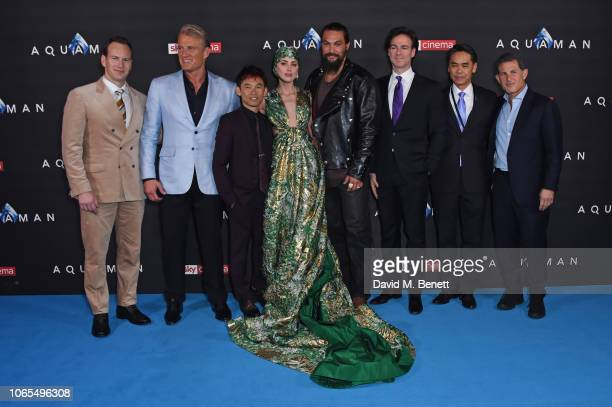Patrick Wilson Dolph Lundgren James Wan Amber Heard Jason Momoa Peter Safran Guest and Josh Berger attend the World Premiere of 'Aquaman' at...