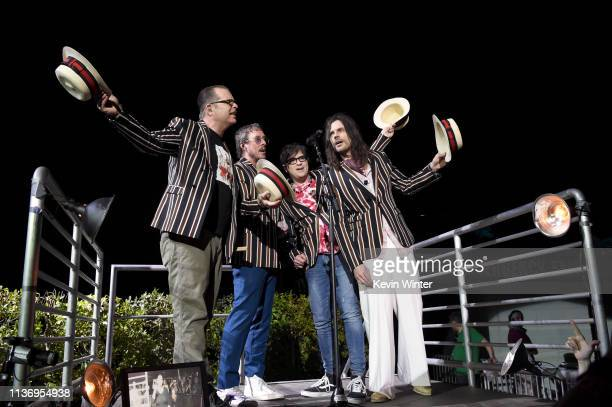 Patrick Wilson Scott Shriner Rivers Cuomo and Brian Bell of Weezer perform at Coachella Stage during the 2019 Coachella Valley Music And Arts...