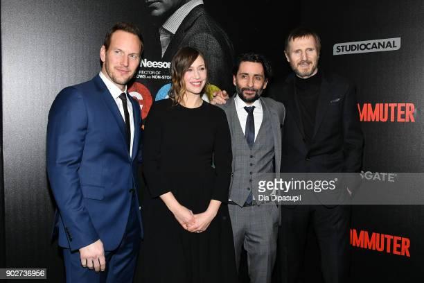 Patrick Wilson Vera Farmiga Jaume ColletSerra and Liam Neeson attend 'The Commuter' New York premiere at AMC Loews Lincoln Square on January 8 2018...
