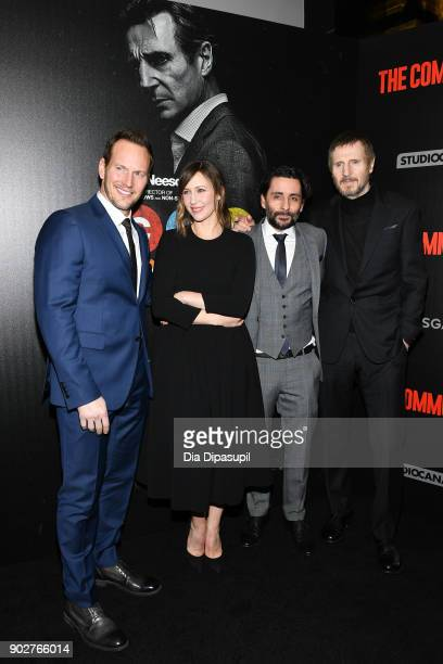 Patrick Wilson Vera Farmiga Jaume ColletSerra and Liam Neeson attend 'The Commuter' New York premiere at AMC Loews Lincoln Square on January 8 2018...