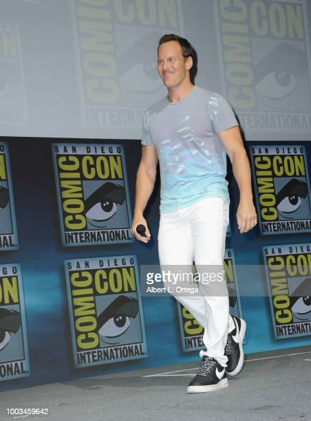 Patrick Wilson walks onstage at the Warner Bros 'Aquaman' theatrical panel during ComicCon International 2018 at San Diego Convention Center on July...