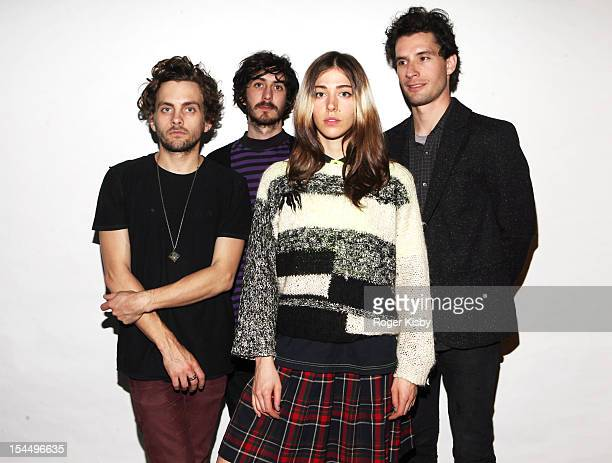 Patrick Wimberly and Caroline Polacheck of Chairlift pose for a portrait backstage at 130 Hope Street on October 20 2012 in the Brooklyn borough of...