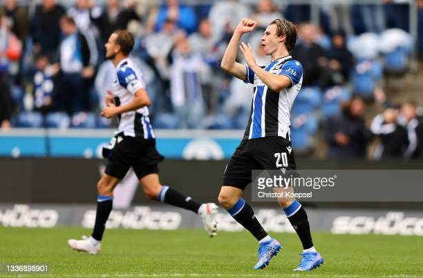 Patrick Wimmer of DSC Arminia Bielefeld celebrates after scoring his team's first goal during the Bundesliga match between DSC Arminia Bielefeld and...