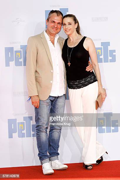 Patrick Winczewski and his wife german actress Kristin Meyer attend the premiere of the film 'PETS' at CineStar on July 20 2016 in Berlin Germany