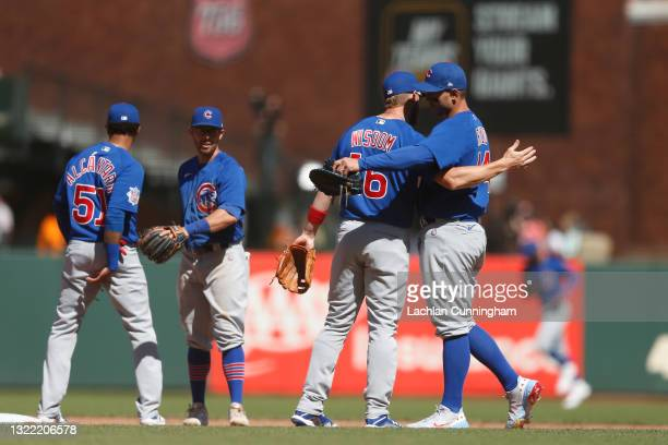 Patrick Wisdom and Anthony Rizzo of the Chicago Cubs celebrate after their win against the San Francisco Giants at Oracle Park on June 06, 2021 in...