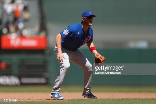 Patrick Wisdom of the Chicago Cubs fields at third base against the San Francisco Giants at Oracle Park on June 06, 2021 in San Francisco, California.