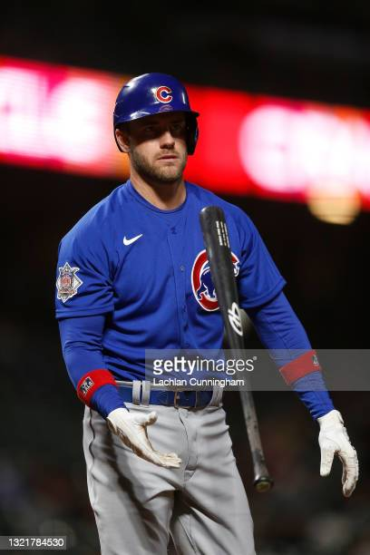 Patrick Wisdom of the Chicago Cubs reacts after striking out against the San Francisco Giants at Oracle Park on June 03, 2021 in San Francisco,...
