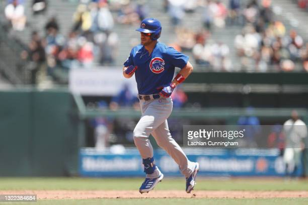 Patrick Wisdom of the Chicago Cubs rounds the bases after hitting a two-run home run in the top of the fourth inning against the San Francisco Giants...