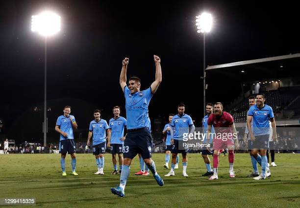 Patrick Wood of Sydney FC celebrates after scoring two goals during the A-League match between Macarthur FC and Sydney FC at Campbelltown Stadium, on...