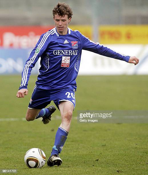 Patrick Ziegler of Unterhaching during the 3Liga match between SpVgg Unterhaching and Bayern Muenchen II at the Generali Sportpark on January 24 2010...