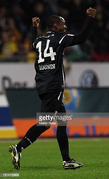 Patrick Zoundi of Berlin celebrates after he scores his team's 2nd goal during the Second Bundesliga match between Eintracht Braunschweig and Union...