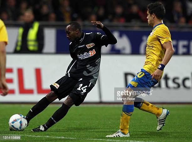 Patrick Zoundi of Berlin scores his team's 2nd goal during the Second Bundesliga match between Eintracht Braunschweig and Union Berlin at Eintracht...