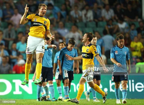 Patrick Zwaanswijk of the Mariners celebrate his goal during the round seven A-League match between Sydney FC and the Central Coast Mariners at...