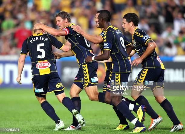 Patrick Zwaanswijk of the Mariners celebrates his goal during the round two ALeague match between the Central Coast Mariners and Gold Coast United at...