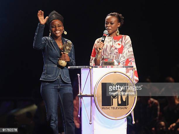 PatrickeStevie Moungondo accepts the My Video Award at the MTV Africa Music Awards with Zain at the Moi International Sports Centre on October 10...