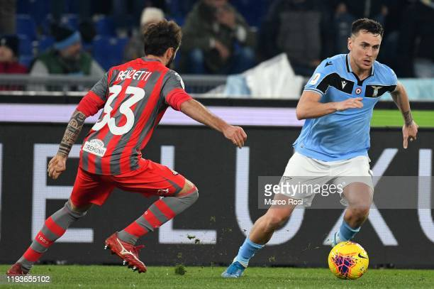 Patrico Gil Gabarron of SS lazio compete for the ball with Francesco Renzatti during the Coppa Italia match between SS Lazio and US Cremonese at...