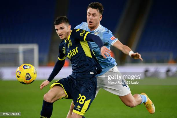 Patrico Gil Gabarron of SS Lazio compte for the ball with Valentin Mihai Mihaila during the Coppa Italia match between SS Lazio and Parma Calcio at...