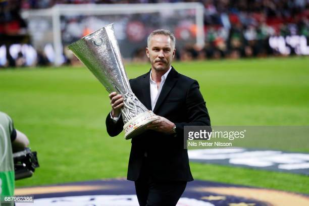 Patrik Andersson with the trophy during the UEFA Europa League Final between Ajax and Manchester United at Friends Arena on May 24 2017 in Stockholm...