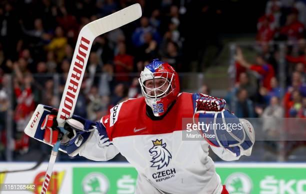 Patrik Bartosak goaltender of Czech Republic celebrates during the 2019 IIHF Ice Hockey World Championship Slovakia quarter final game between Czech...