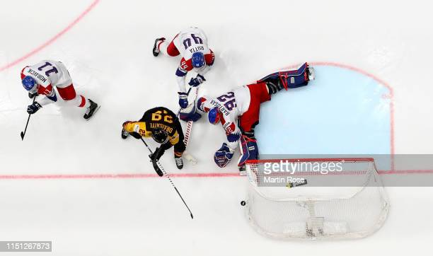 Patrik Bartosak goaltender of Czech Republic makes a save on Leaon Draisaitl of Germany during the 2019 IIHF Ice Hockey World Championship Slovakia...