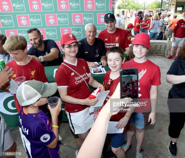 Patrik Berger and Ian Rush Legend of Liverpool during a meet and greet with Liverpool fans at O'Rourke's on July 19 2019 in South Bend Indiana