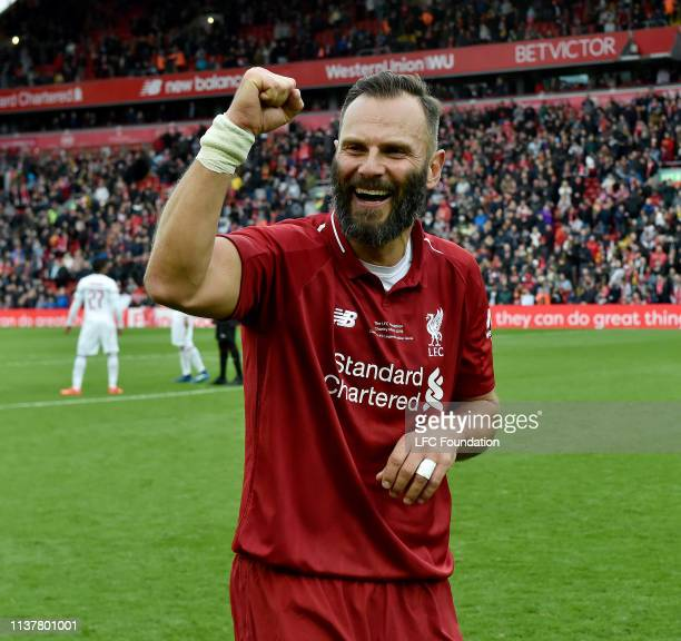Patrik Berger of Liverpool FC Legends showing his appreciation to the fans at the end of the friendly match between Liverpool FC Legends and AC Milan...