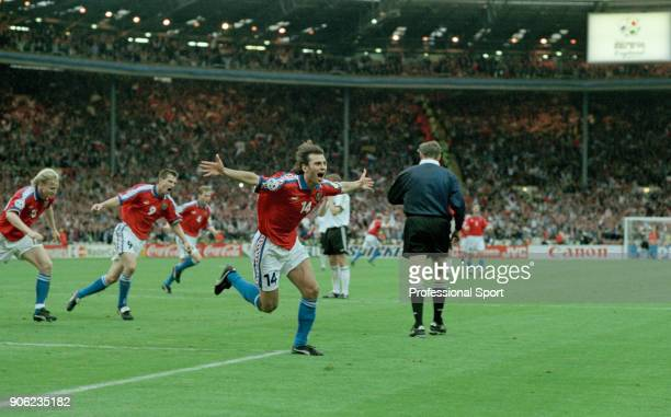 Patrik Berger of the Czech Republic celebrates after scoring with a penalty during the UEFA Euro96 final at Wembley Stadium in London on 30th June...