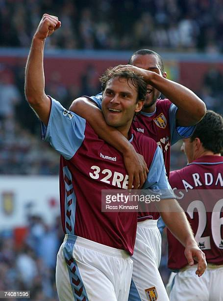 Patrik Berger of Villa celebrates after scoring the third goal during the Barclays Premiership match between Aston Villa and Sheffield United at...
