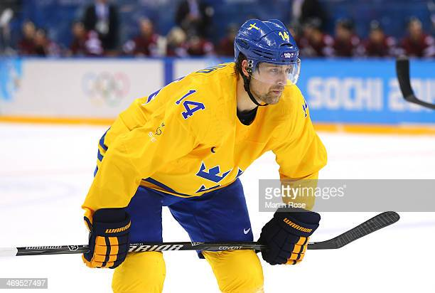 Patrik Berglund of Sweden skates against Latvia during the Men's Ice Hockey Preliminary Round Group C game on day eight of the Sochi 2014 Winter...