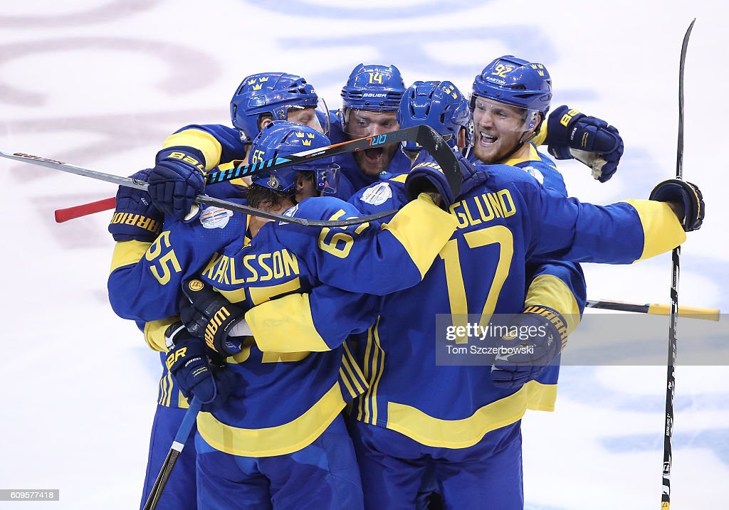 Patrik Berglund #17 of Team Sweden celebrates his game-tying goal in the third period with teammates against Team North America during the World Cup of Hockey tournament at the Air Canada Centre on September 21, 2016 in Toronto, Canada.
