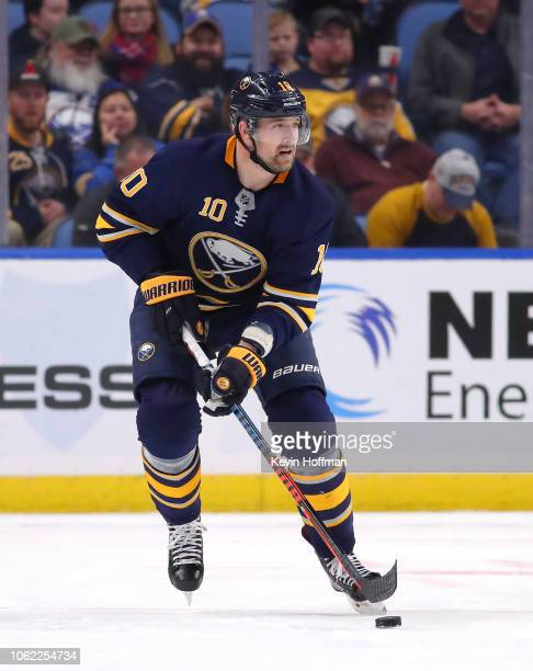 Patrik Berglund of the Buffalo Sabres during the game against the Calgary Flames at the KeyBank Center on October 30 2018 in Buffalo New York