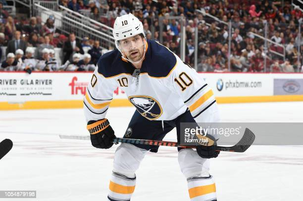 Patrik Berglund of the Buffalo Sabres gets ready to take a faceoff against the Arizona Coyotes at Gila River Arena on October 13 2018 in Glendale...