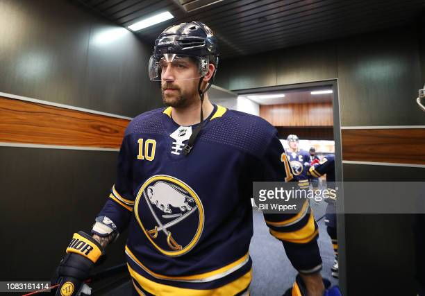 Patrik Berglund of the Buffalo Sabres heads to the ice before an NHL game against the Philadelphia Flyers on December 8 2018 at KeyBank Center in...