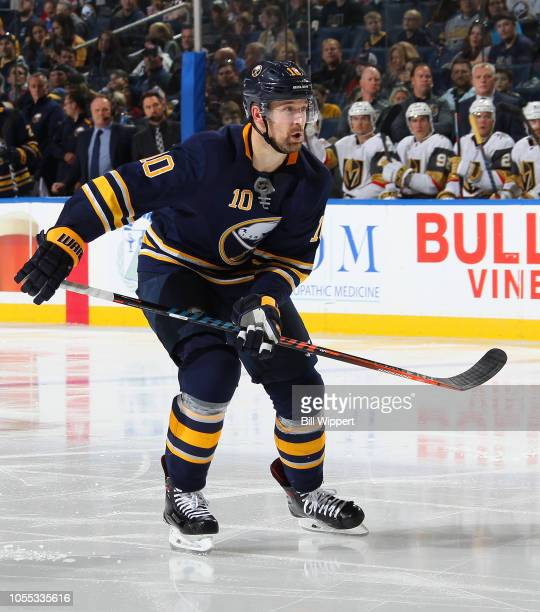 Patrik Berglund of the Buffalo Sabres skates against the Vegas Golden Knights during an NHL game on October 8 2018 at KeyBank Center in Buffalo New...