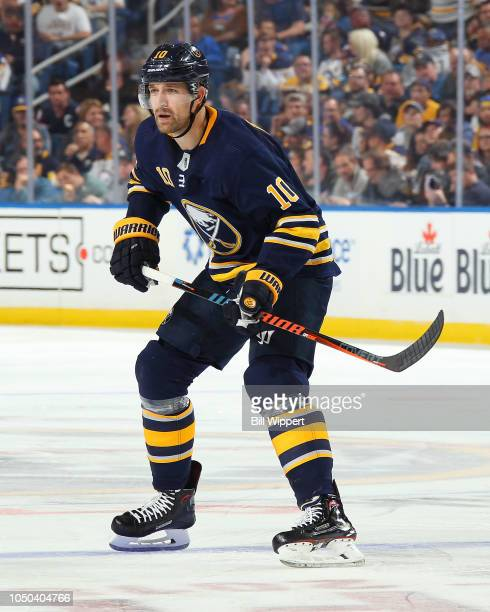 Patrik Berglund of the Buffalo Sabres skates during an NHL game against the Boston Bruins on October 4 2018 at KeyBank Center in Buffalo New York