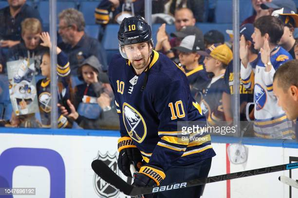 Patrik Berglund of the Buffalo Sabres warms up before an NHL game against the Vegas Golden Knights on October 8 2018 at KeyBank Center in Buffalo New...