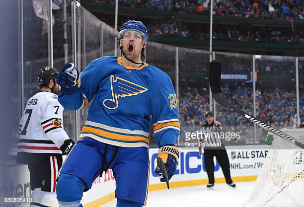 Patrik Berglund of the St Louis Blues celebrates after scoring in the second period against the Chicago Blackhawks during the 2017 Bridgestone NHL...