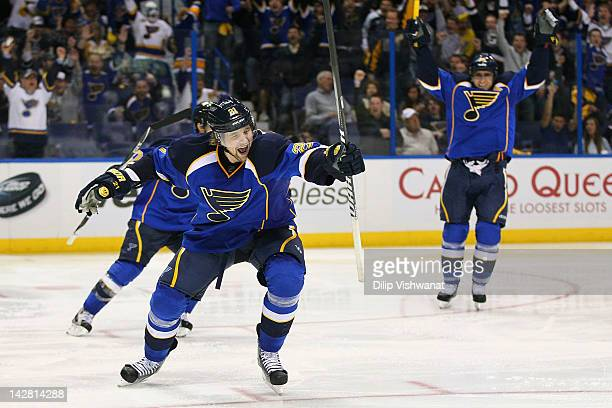Patrik Berglund of the St Louis Blues celebrates his goal against the San Jose Sharks during Game One of the Western Conference Quarterfinals during...
