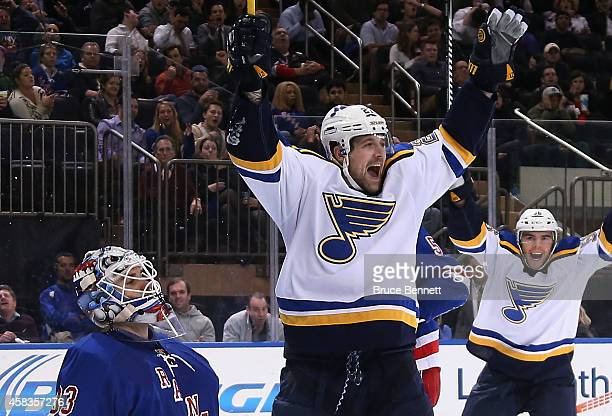 Patrik Berglund of the St Louis Blues celebrates his goal at 350 of the first period against Cam Talbot of the New York Rangers at Madison Square...
