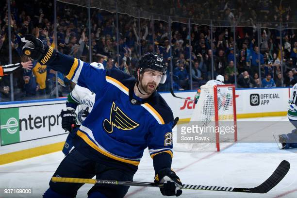 Patrik Berglund of the St Louis Blues celebrates his second goal of the game against the Vancouver Canucks at Scottrade Center on March 23 2018 in St...