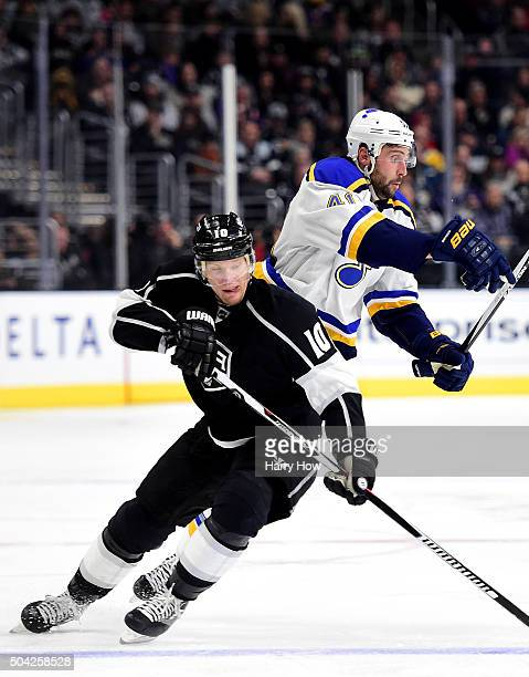Patrik Berglund of the St Louis Blues gets away from a check from Christian Ehrhoff of the Los Angeles Kings during the third period at Staples...
